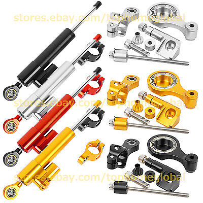 For Yamaha R1 R6 MT07 MT09 FZ1 R3 XJR1300 Steering Damper Stabilizer + Bracket