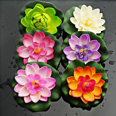 1X Artificial Plastic Lotus Water Lily Floating Flower Plant Pond Ornament