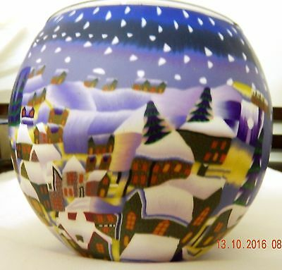 1 x Glowing Candle Holder 11cm SNOW TOWN CHRISTMAS THEME free post