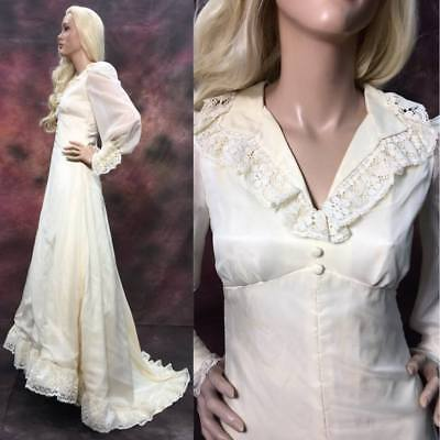 S/M Vintage 70s Wedding Dress Ivory w/ train Lace Empire Long Bishop slv Collar