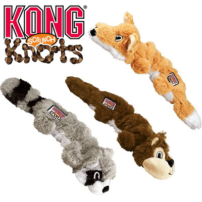 KONG Scrunch Knots Stretchy Dog Puppy Squeaky Toy Strength Knotted Rope or Treat