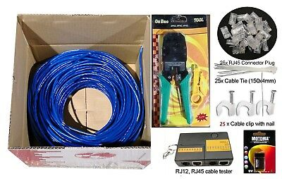 100m Cat 6 RJ45 Network Ethernet LAN Cable Kit Crimper tool Punch Tester 25Plugs