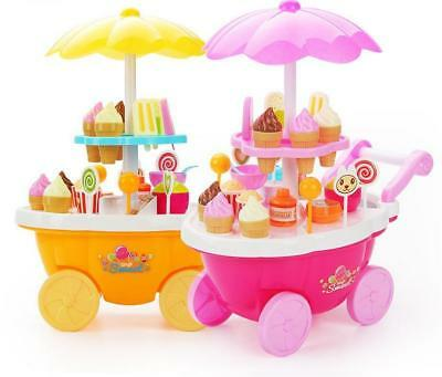 Ice Cream Cart Shop Toy Pretend Play Set with Music Lighting Kids Cake Set Food