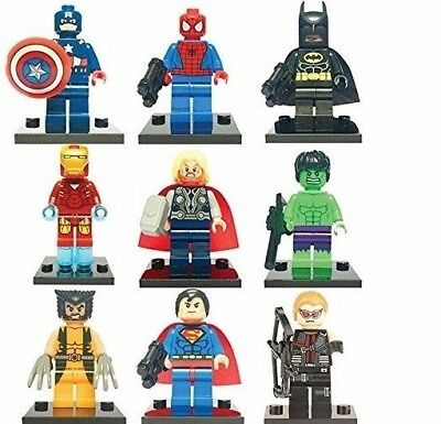 9 Pcs Dc Marvel Fit Lego Avengers Super Heroes Mini Figures Hawkeye Thor Hulk Uk