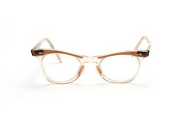 Vintage 1940s cat eye eyeglasses in translucent brown in 44-20 mm  EG35