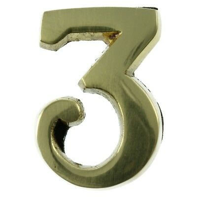 Small 32 mm Solid Brass Number 3 Self Adhesive
