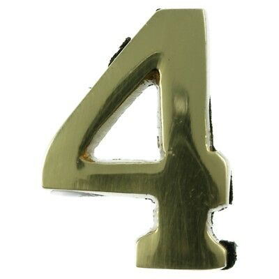 Small 32 mm Solid Brass Number 4 Self Adhesive