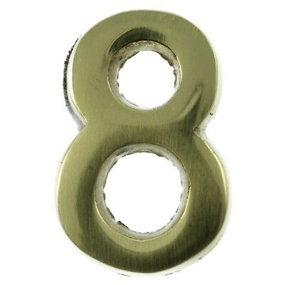 Small 32 mm Solid Brass Number 8 Self Adhesive