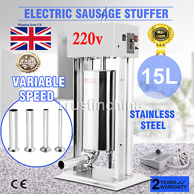 15L 33lbs Electric Sausage Filler Stuffer Maker Commercial Butcher Vertical UK