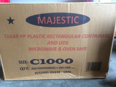 250 x Microwave C1000 Majestic Plastic Food Storage Containers + Lids Takeaway