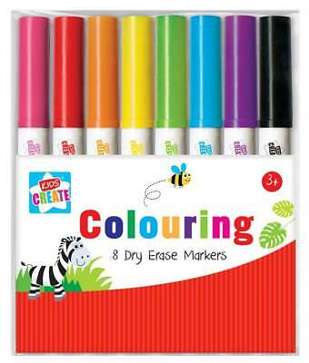 UK 8 Colouring Dry Erase Marker Pens Easy Whiteboard Wipe Clean Book Kids