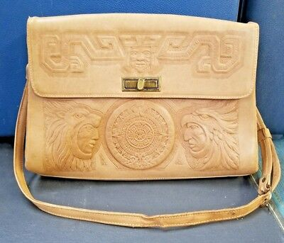 Vintage 1950's ASTRO Hand Tooled Embossed Leather Purse Mexico Aztec BEAUTIFUL!