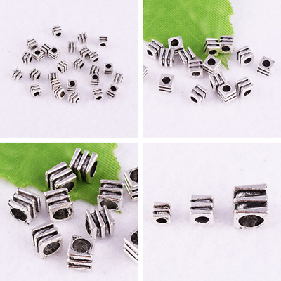 3-4-6mm Metal Cube Spacer Beads Tibetan Silver Charm Jewelry Findings Wholesale