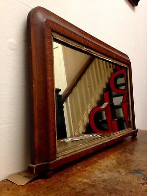 Antique Victorian 19th Century Inlay Decorated Wooden Mantle Mirror