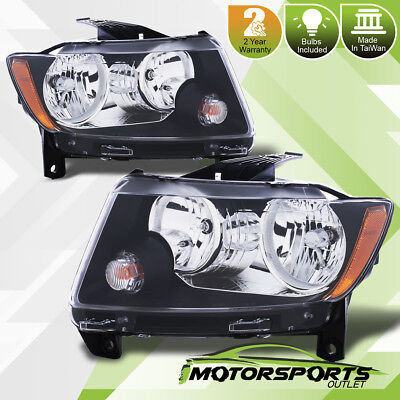 2011 2012 2013 Jeep Grand Cherokee Factory Style Black Headlights Pair