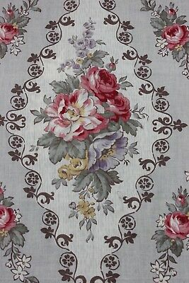 "Antique Country French Frame Rose Home Cotton Fabric c1900~20""LX31""W"