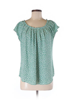 84b3783e LC Lauren Conrad Mint Green Floral Vine Trellis Pleated Keyhole Blouse Top M