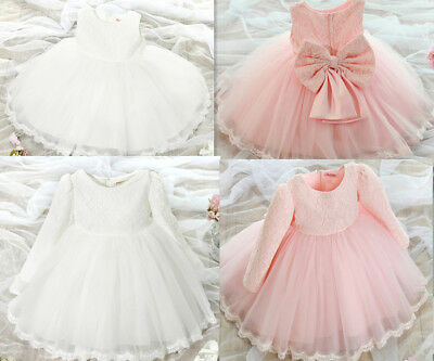 BABY Girls Flower Lace Party Prom CHRISTENING dresses Bridesmaid Wedding Dress