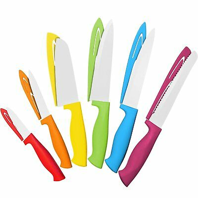 12 PIECE COLORFUL Knife Set - 6 Kitchen Knives with 6 Knife ...