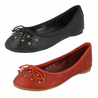 Girls Cutie Slip On Ballerina Flats Casual Bow Studded Dolly Shoes Pumps H2R244