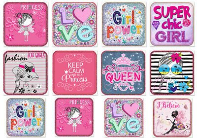 ✿ Süße Applikationen FLICKEN Aufnäher 12 St. Mädchen FASHION Girl Power Princess