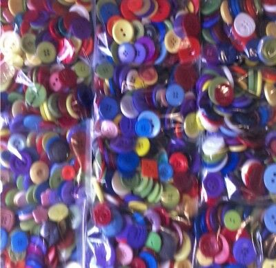 Large Buttons - 250G Job Lot - Mixed Colour , Size & Shade - Art Craft Hobby
