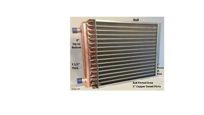 """Water to Air Heat Exchanger 8X8 1"""" Copper ports w/ EZ Install Front Flange"""