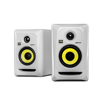 KRK RP-4 G3 RP4 G3 ROKIT STUDIO MONITORS ACTIVE whites WHITE COUPLE PAIR (2)