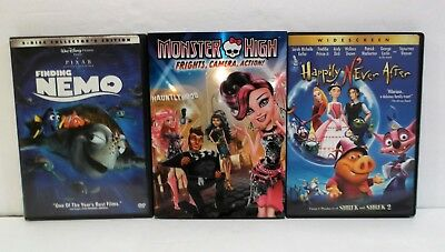 Lot Of 3 Disney/kids DVD's - Finding Nemo, Happily Never After, Monster High