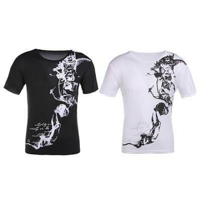 Chinese Style Printed Men Casual Short Sleeve T-shirt Slim O-Neck Cotton Fit Top