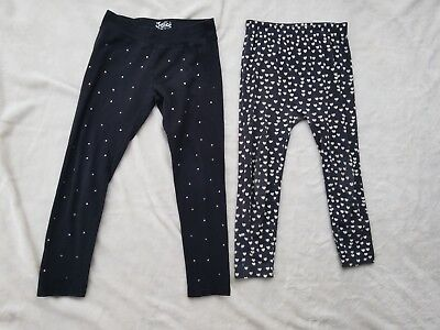 Girls Size 10 Capri Cotton Spandex Leggings 2 Pair Black and Charcoal w/Hearts