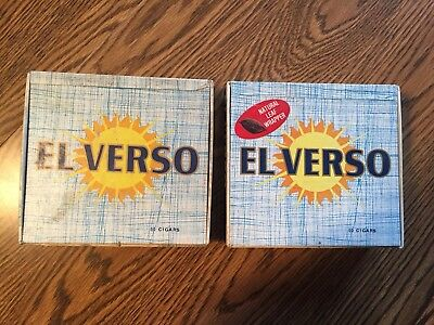 El Verso Commodore Panetela Vintage Cigar Box Set Old Antique Smoking Retro
