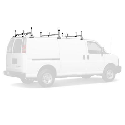 Vantech White H1 3 Bar Steel Ladder Roof Rack for a Chevy Express 1996-2017