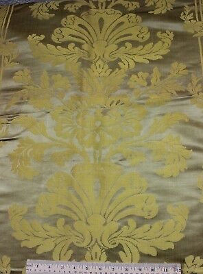 "French Antique ""Hamot"" Lyon Silk Golden Yellow Home Fabric Panel~1yd20""LX47""W"