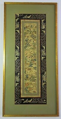 ANTIQUE CHINESE EMBROIDERY EMBROIDERED SILK PANEL 19th Century