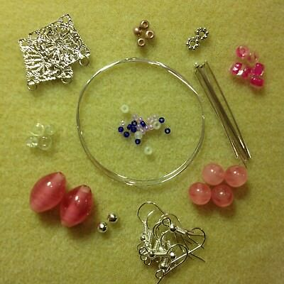 Jewellery Making Kit - Makes 4 Pairs Of Earrings - Pink, Silver, Glass, Beads