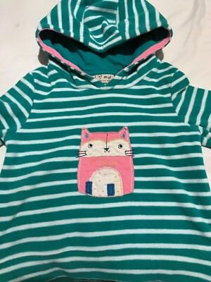 Next Girls Green and White Striped Fleece Hooded Jumper Age 2-3 Years