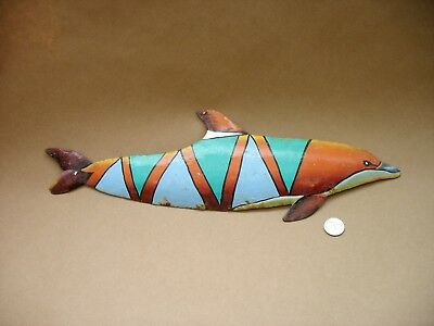 """A Vintage 18"""" Long Made In Haiti Hand Painted Metal Dolphin For Wall Or Yard Art"""