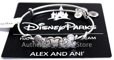 NEW Disney Parks ALEX AND ANI Mickey & Minnie Kissing Heart SILVER Bracelet