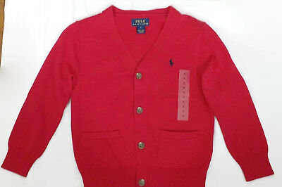 NWT Boy's Polo Ralph Lauren Cardigan Sweater Sz. 5 - Red Button Front Cotton