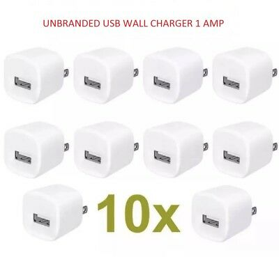 10x USB AC Home Wall Charger for Samsung and compatible with iPhone 5, 6, 7