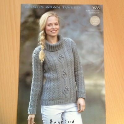 Knitting Pattern Womens Ladies Cable Design Sweater Sizes 32 42 In