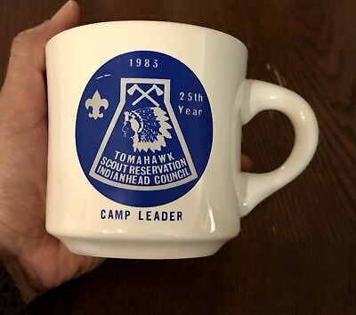 VTG Tomahawk 25th Year SCOUT CAMP LEADER POTTERY COFFEE MUG BOY SCOUTS 1983 BSA