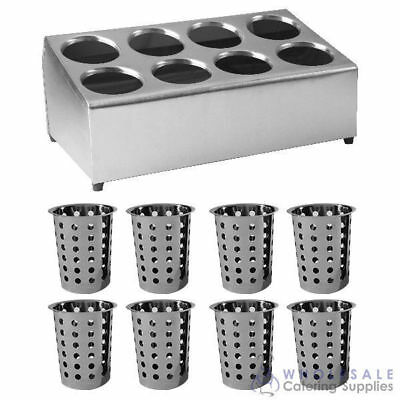Cutlery Holder Double Row 8 Holes w 8 Stainless Steel Basket Inserts Utensil NEW