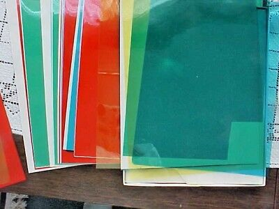Colored Overlays Transparency 15 Total Color Film Plastic Sheets 8-1/2 x 11 Used