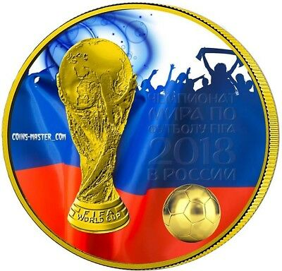 2018 1 Oz Silver 3 Roubles FIFA RUSSIA WORLD CUP Coin WITH 24K GOLD GILDED.