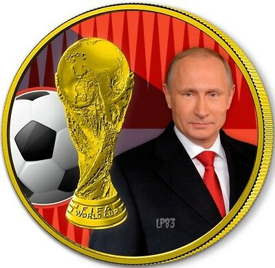 2018 1 Oz Silver 3 Roubles FIFA RUSSIA WORLD CUP PUTIN Coin WITH 24K GOLD GILDED
