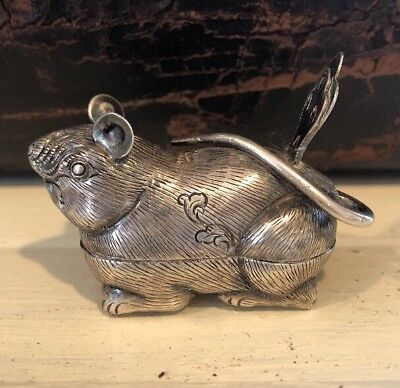 Antique Vtg Asian Sterling Silver Cambodian Figural Mouse Betel Nut Box Trinket