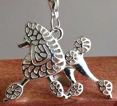 Silver Poodle in Motion Dog Pup Bag Purse Charm Dangle Zipper Pull Jewelry