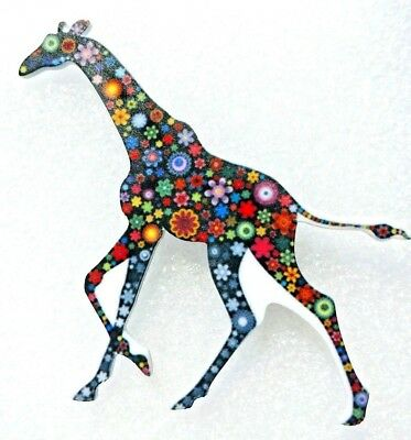 Giraffe Large Multicolor Floral Acrylic Pin Brooch Jewelry